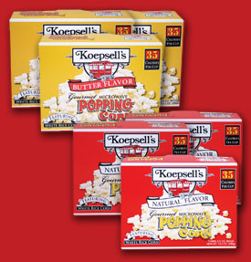 Koepsell's Popping Corn - Plain and Buttered Microwave Popcorn